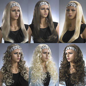 Ladies-Long-Half-3-4-Wig-Fall-Clip-In-Hair-Extension-Black-Brown-Blonde-Long-Wig