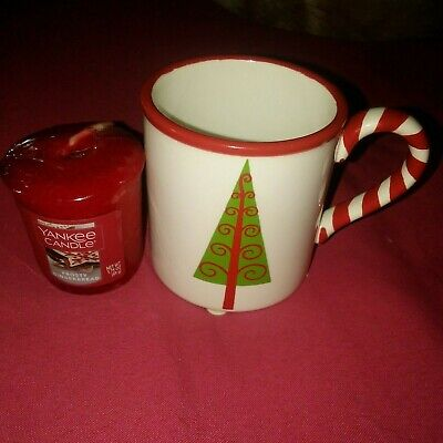 """YANKEE CANDLE CHRISTMAS TREE MUG VOTIVE HOLDER 3"""" WITH FROSTY GINGERBREAD CANDLE"""