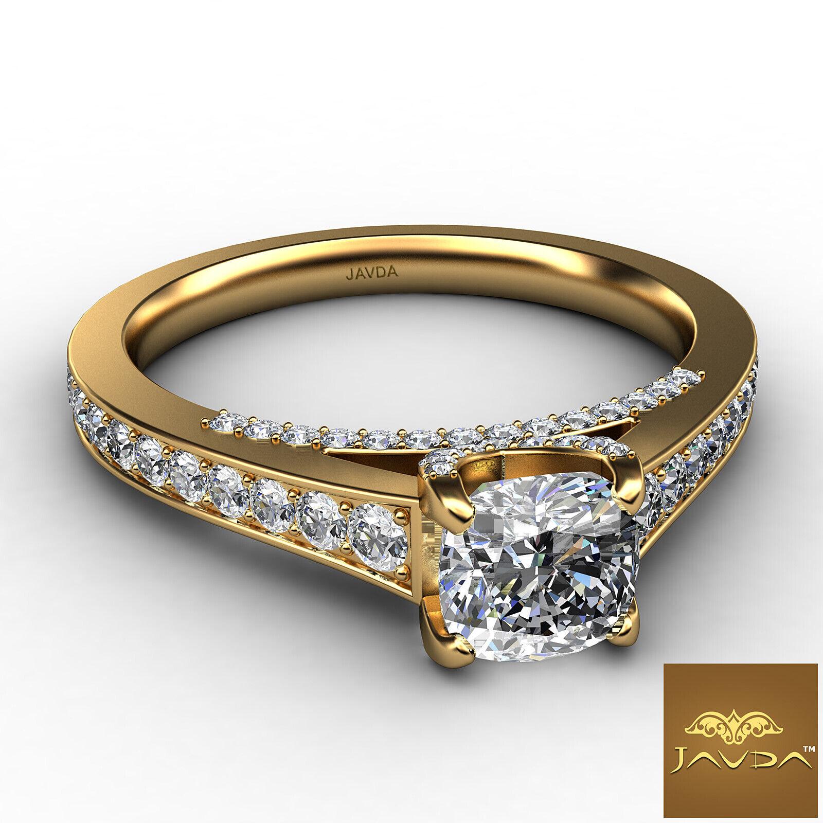 Cushion Cut Diamond Flawless Engagement GIA G VVS2 Pave Set Ring Platinum 1.25Ct 5