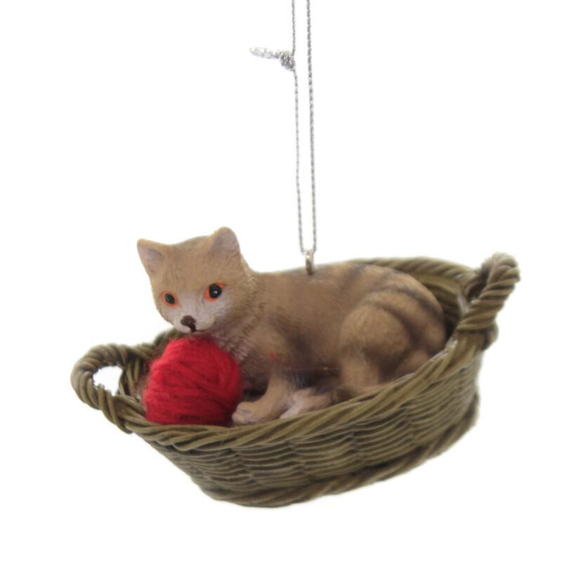 Holiday Ornaments CAT BASKET Polyresin Yarn Kitten Feline