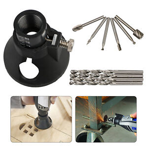 Rotary Multi Tool Cutting Guide Attachment Kit HSS Router Drill Bits for Dremel