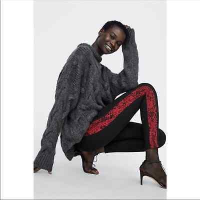 Zara Red Snake Print Stripe High Waisted Leggings