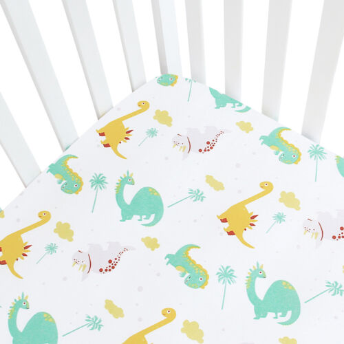"Standard Crib Mattress Sheets for Baby Soft Fitted Crib Sheet Dinosaur 52""x28"""