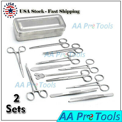 2 Set Of 13 Pieces Basic Minor Surgery Kit Steel Box Surgical Instrument Ds-1290