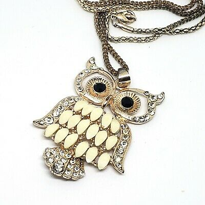 Large Rose Gold Owl Pendant Necklace Long Snake Chain Statement Jewelry