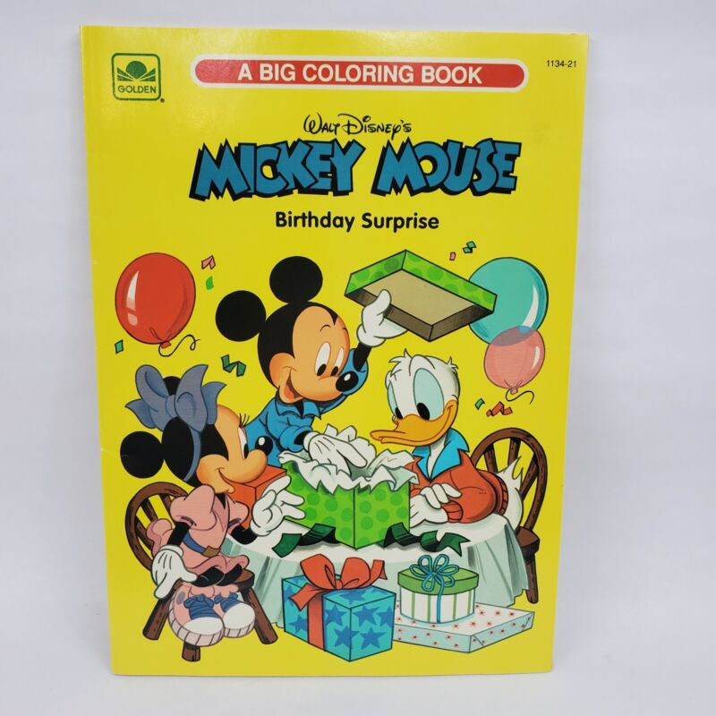 Vintage 1991 Disney Mickey Mouse Coloring Book Birthday Surprise UNUSED Golden