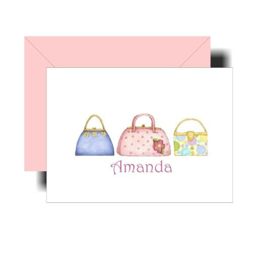 Personalized Note Cards Pastel Purses Fashion Ladies - Set of 8
