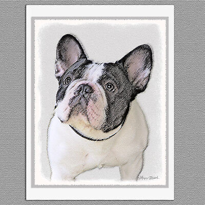 (6 French Bulldog Frenchie Brindle Pied Blank Art Note Greeting Cards)