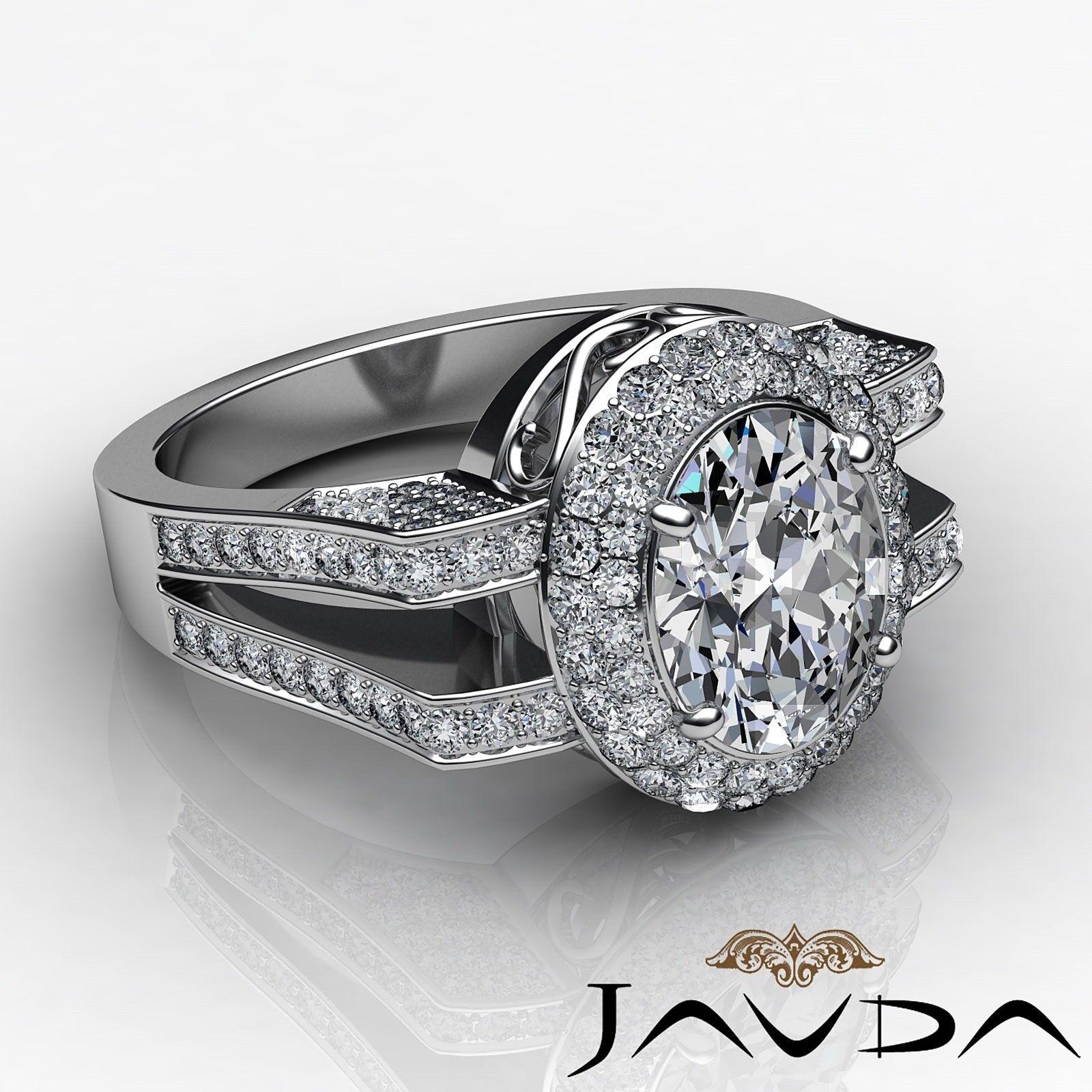 1.9ctw Gala Halo Split Shank Oval Diamond Engagement Ring GIA E-VS2 White Gold 2
