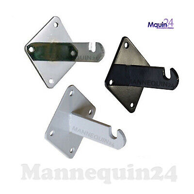 Gridwall Heavy Duty Wall Mount Brackets For Grid Panels - Chrome White Or Black