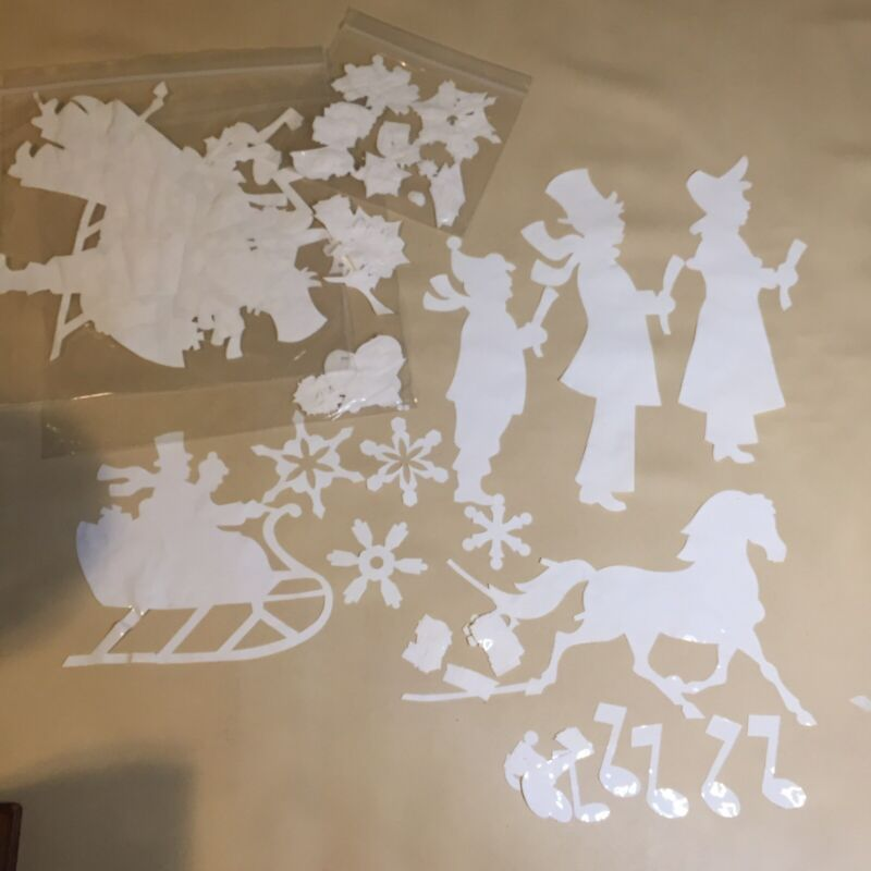 Vtg. Christmas Window Clings Decals White Sleigh Carolers Letters Snowflakes