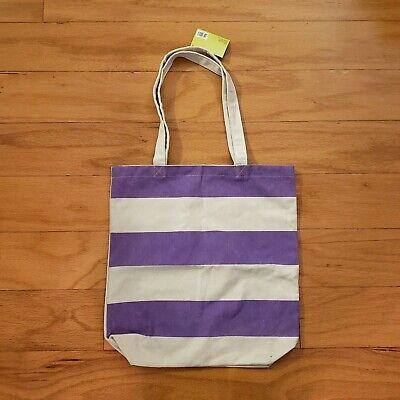 NWT Large Natural Canvas Tote Bag Purple Stripe](Natural Canvas)
