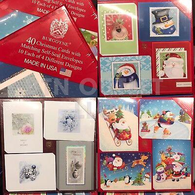 BURGOYNE 40 Christmas Holiday Cards + Matching Self-Seal Envelopes MADE IN USA ()