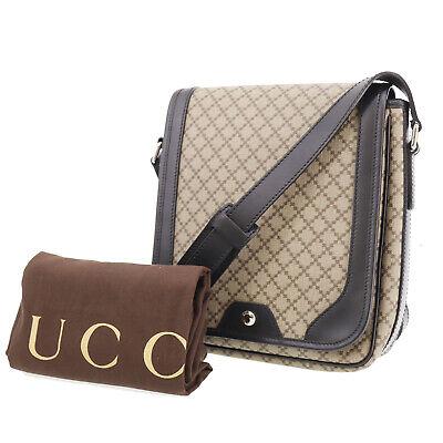 GUCCI Diamante line Shoulder Bag Brown PVC Leather Vintage Authentic #AD846 S