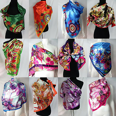 """US SELLER-lot of 5 floral retro bohemian large satin square scarf 39""""x39"""""""