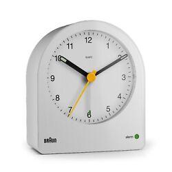 Braun BN-BC22W White Backlit Continuous Backlight Analog Quartz Alarm Clock