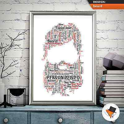 PERSONALISED BEARD WORD ART FOR DAD AT CHRISTMAS UNCLE BROTHER HIM PRESENT IDEA ()