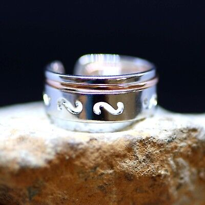 Two Tone Puzzle Ring Sterling Silver 925 Rose Gold , Mens Band , Two Piece -