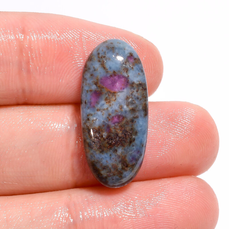 Blue Ruby Fuchsite Oval Shape Cabochon Loose Gemstone 17 Ct. 25X11X5 mm EE-17708