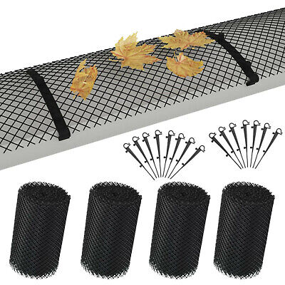 Gutter Protection Mesh with 60 Clips 4 Rolls Leaf Guard Guttering Cover Black