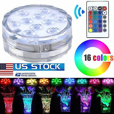 10 LED submersible Multi Color Waterproof Wedding Party Vase Base Light & Remote