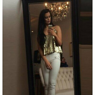 Women's Sexy Gold Sequin NYE Spaghetti Strap Tank Top Camisole