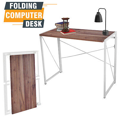 Desk Table Foldable Office Computer Workstation Wooden Writing Off White Study