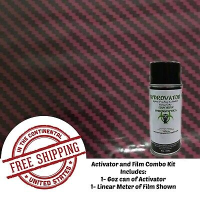Hydrographic Water Transfer Film Hydro Dip Kit Activator Film Dark Red Carbon