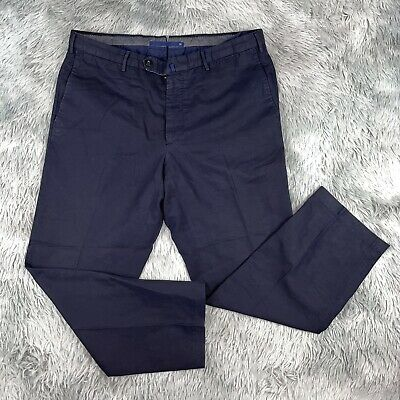 INCOTEX Men's Chinolino Casual Navy Blue Linen Blend Chino Pants 36