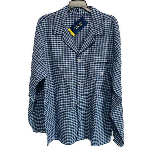 Polo Ralph Lauren Mens Pajama Top L/S Shirt M Plaid Navy Blue Sleepwear Clothing, Shoes & Accessories