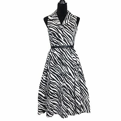 Jones New York Dress 4 Sm White Black Zebra Stripe Button A Line Midi Washable