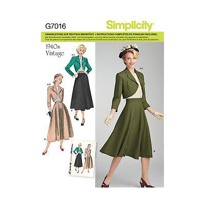 Schnittmuster Simplicity Nr. 7016 Kostüm - Schnitt Kostüm