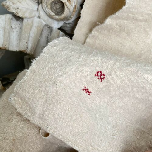 Antique French PURE linen towel 1850 IB monogram hand kitchen towel lovely old