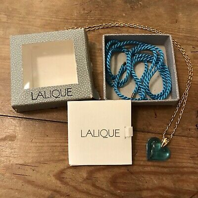 Genuine Lalique Blue Glass Heart Pendant, Original Box and Metal and Cord Chains