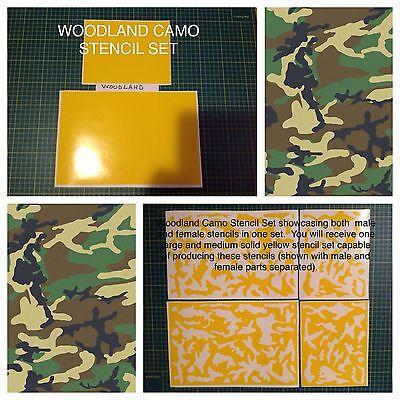 Woodland Camo vinyl stencil For Duracoat, Cerakote, Krylon, AR, Brand New!