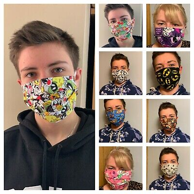 Disney, Marvel DC 100% Cotton Fun Designs Face Mask With Filter Pocket Hand Made
