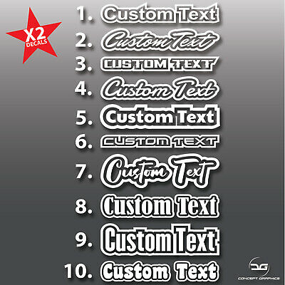 2x Outlined Custom Personalised Text Decal Stickers Name Car Bike Window Vinyl