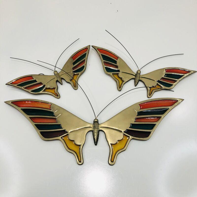 VTG 1985 Enesco MCM Brass Butterfly Butterflies Sun Catcher Stained Glass Set 3