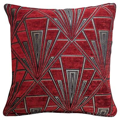 Art Deco Cushion. Luxury Soft Velvet Chenille. Red and Silver Geometric Design.
