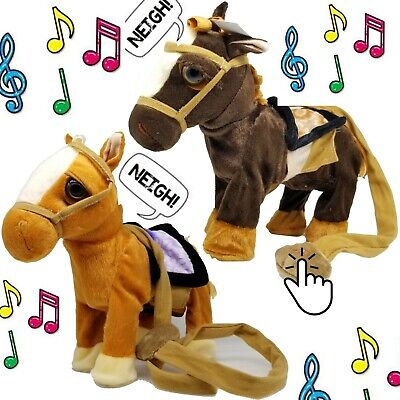 Walking Horse Pony Musical Singing Toys Plush Battery Horse Kids Baby Toy Gift