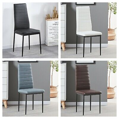 Set of 2 Modern Dining Chair Black White Brown Grey Faux Leather Padded Seat