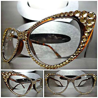 Women's VINTAGE 60s CAT EYE Clear Lens EYE GLASSES FRAMES Gold Crystals Handmade