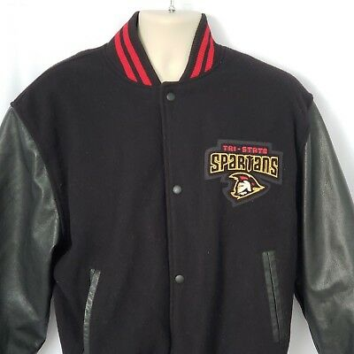 Canada Sportswear Bomber Letterman Jacket Size M Black Melton Leather Wool Blend Melton Wool Letterman Jacket