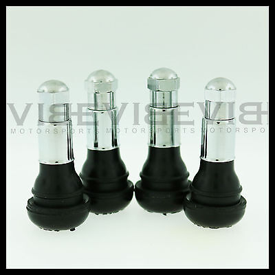 Set of 4 Chrome Rubber Valve Stems with Caps TR413 Quantity 4