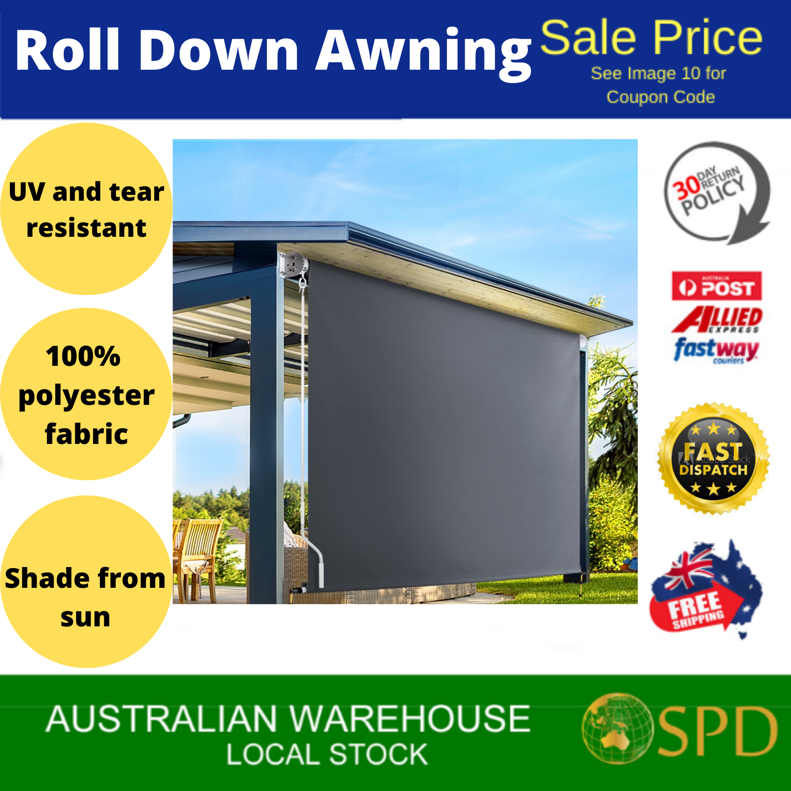 Outdoor Shade Retractable Blind Awning Canopy Roll Down ...