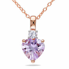 Pink Sterling Silver Gemstone and White Sapphire Heart Pendant Necklace