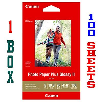 "100 SHEETS ... CANON PHOTO PAPER PLUS GLOSSY II  4"" x 6""  1  BOX"