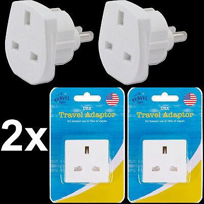 2x UK To European USA American China Visitor Travel Plug Power Adapter Adaptor
