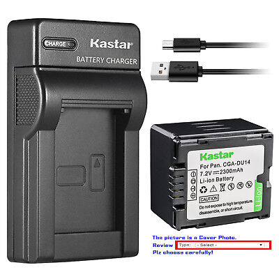 Kastar Battery Slim Charger for Panasonic CGR-DU14 CGA-DU14 & PV-GS31 PV-GS33 Cga Du14 Lithium Ion Battery