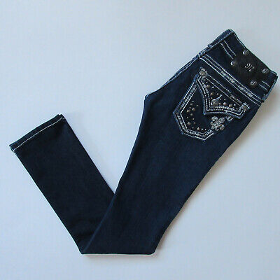 Miss Me Straight in Dark Blue Rhinestone Studded Flap Pocket Stretch Jeans 23 Miss Me Flap Pocket Stretch Jean